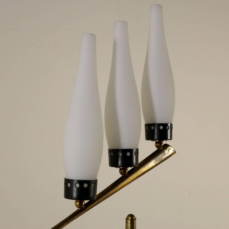 Italian Floor Lamp Brass Marble Opaline Glass Vintage, Italy, 1950s-1960s For Sale