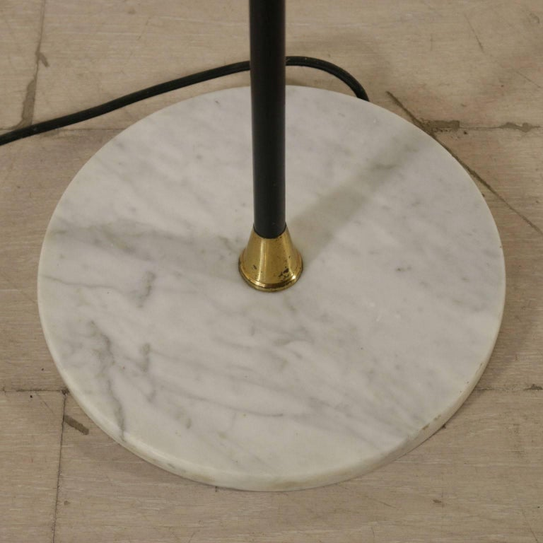 Floor Lamp Brass Marble Opaline Glass Vintage, Italy, 1950s-1960s For Sale 1