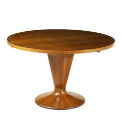 Round Table Walnut Veneer Glass Vintage, Italy, 1950s