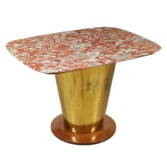 Table Wood Marble Brass Vintage Manufactured in Italy, 1950s