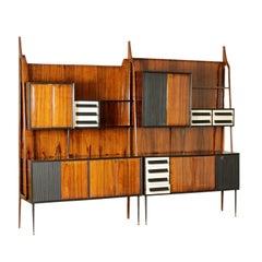 Large Cabinet Wood Veneer Brass Metal Vintage, Italy, 1950s-1960s