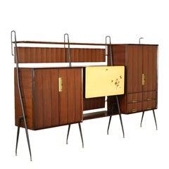 Cupboard by Silvio Cavatorta Teak Brass Vintage, Italy, 1960s
