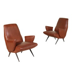 Pair of Armchairs by Nino Zoncada Leatherette Vintage Italy 1950s