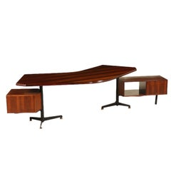 Desk by Osvaldo Borsani Wood Vintage Italy, 1950s