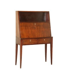 Writing Desk Stained Beech Mahogany Vintage Italy, 1950s