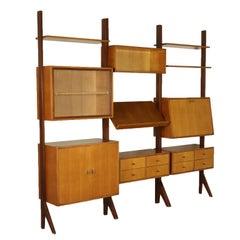 Three Elements Oak Veneered Bookcase Vintage, Italy, 1960s