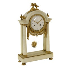 Table Clock Gilded Bronze Marble, Italy, Late 1700s-Early 1800s