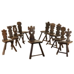 Set of Ten Stools Walnut Manufactured in Italy 17th Century