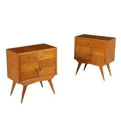 Pair of Bedside Tables Mahogany Veneer Brass Vintage Argentina, 1950s