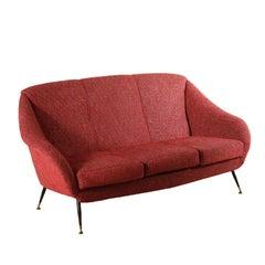 Three-Seat Sofa Foam Fabric Metal Brass Vintage, Italy, 1960s