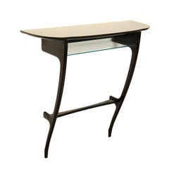 Console Table Formica Glass Wood Stained Ebony Vintage Italy, 1950s