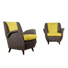 Pair of Armchairs Springs Foam Padding Fabric Vintage, Italy, 1950s