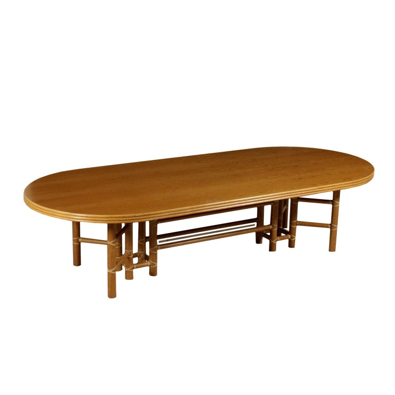 Large Table for McGuire Leather Bamboo Vintage USA, 1980s For Sale