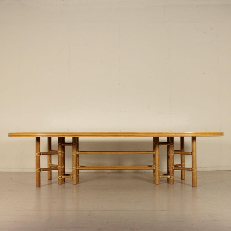 Late 20th Century Large Table for McGuire Leather Bamboo Vintage USA, 1980s For Sale