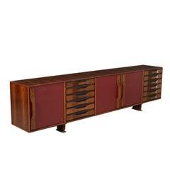 Sideboard Wood Veneer Skai Leatherette Vintage, Italy, 1960s