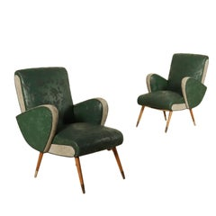 Pair of Armchairs Springs Padding Skai Brass Vintage, Italy, 1950s
