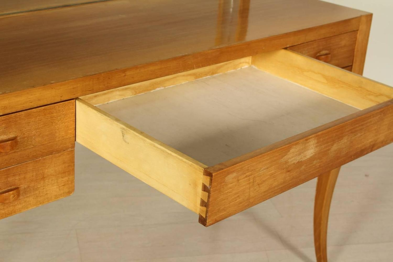 Table Dressing Wood 1950 Scarved ~ Dressing table with mirror solid wood exotic veneer