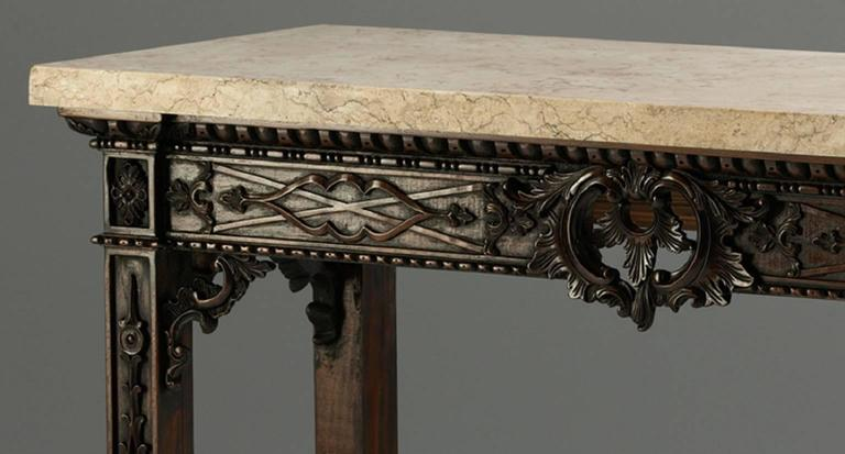 Hand-Carved Fret Pier Tables in the Chippendale manner For Sale