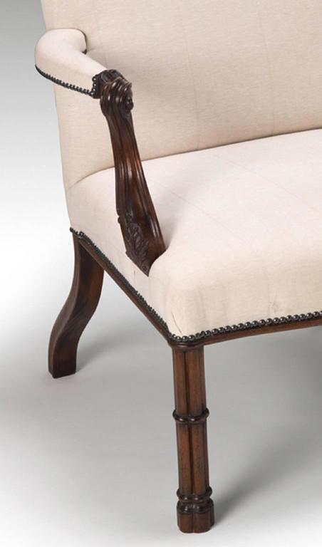 Hand-Carved Cluster Column Armchairs in the manner of Thomas Chippendale For Sale