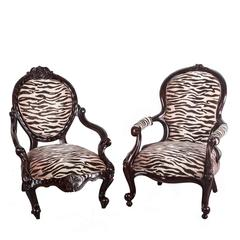 Two Antique Anglo-Indian or British Colonial Rosewood Armchairs