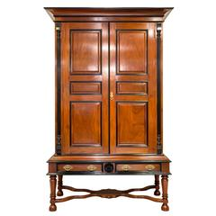 Antique Indo-Dutch or Dutch Colonial Mahogany and Ebony Cupboard