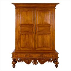 Antique Indo-Dutch or Dutch Colonial Satinwood Cupboard