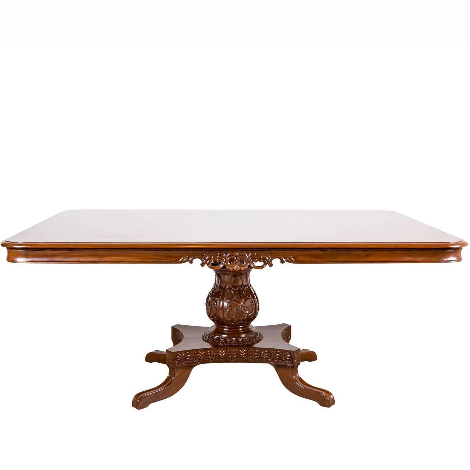 antique anglo indian or british colonial teak wood dining table: extension table f