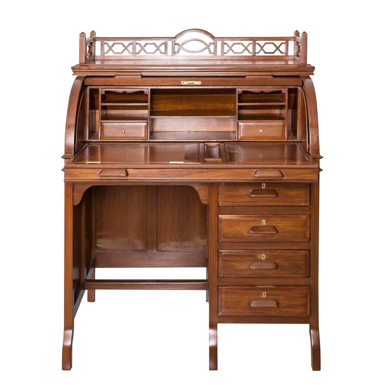 antique angloindian or british colonial teak wood cylinder desk