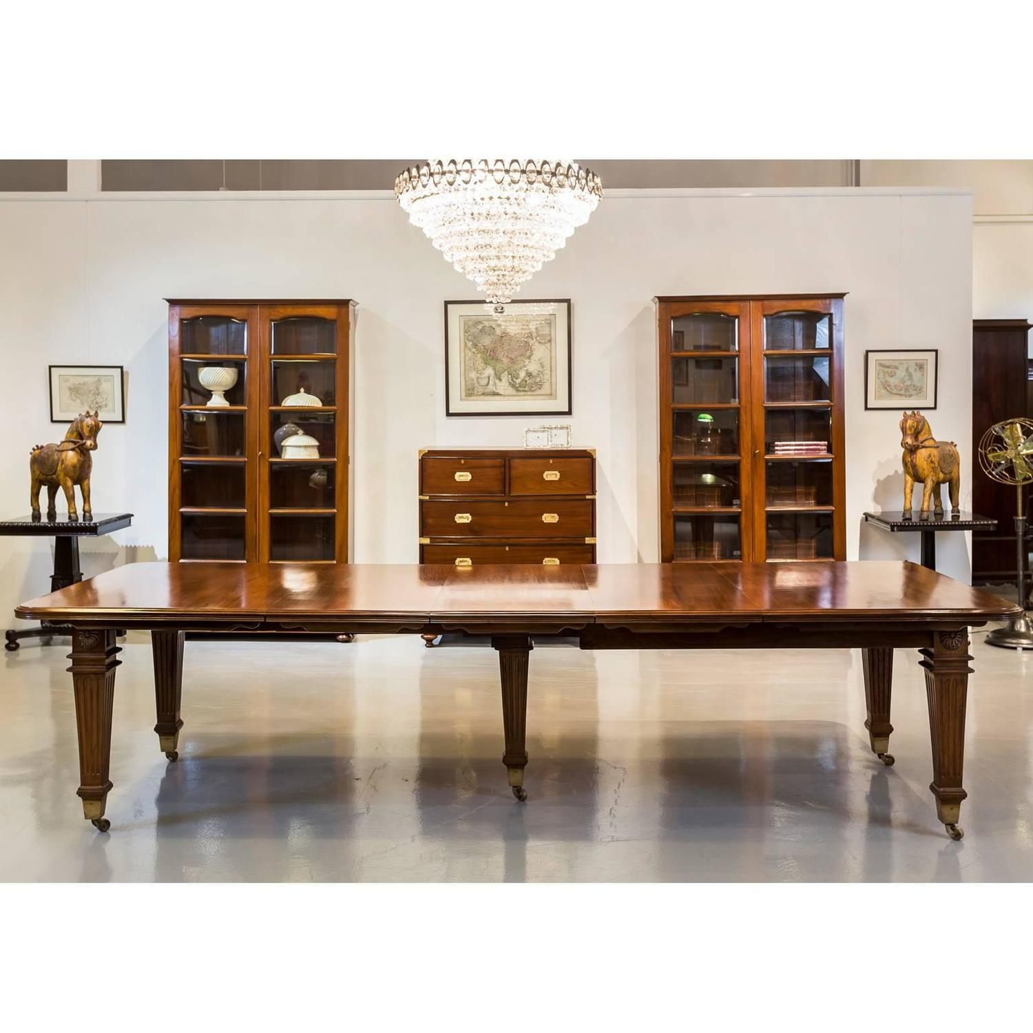 anglo indian or british colonial teakwood extending dining