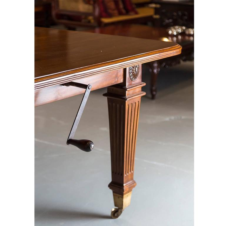 Anglo indian or british colonial teakwood extending dining for Extendable dining table india