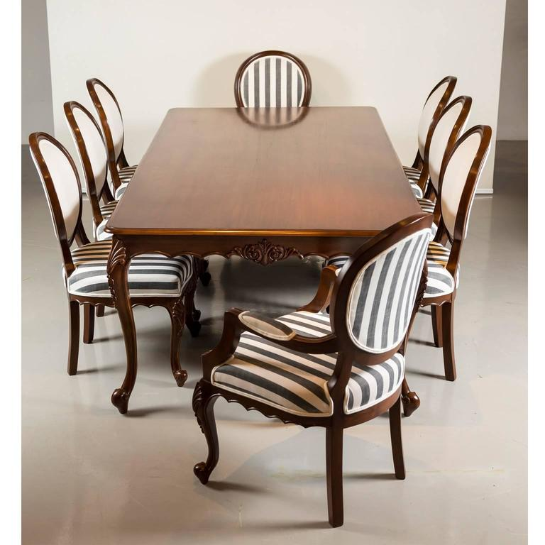 Antique anglo indian teak wood dining table with eight for Oriental dining room furniture for sale