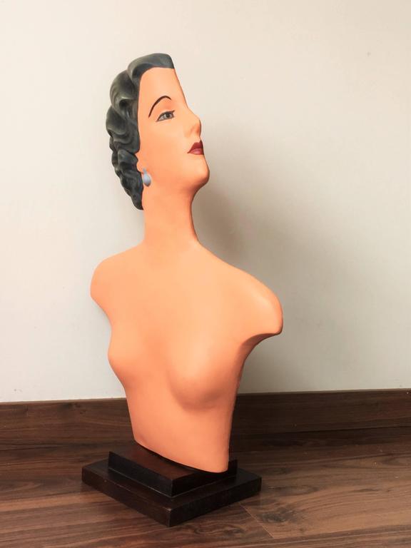 European Art Deco Plaster Bust Mannequin For Sale
