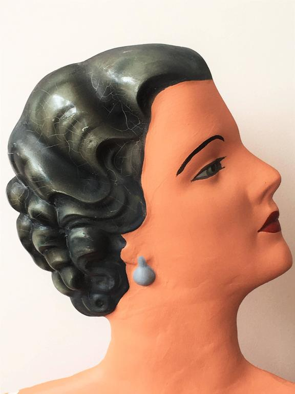 20th Century Art Deco Plaster Bust Mannequin For Sale