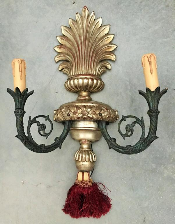 Pair of French Neoclassical Two-Light Gilt Metal and Wood Sconces 2