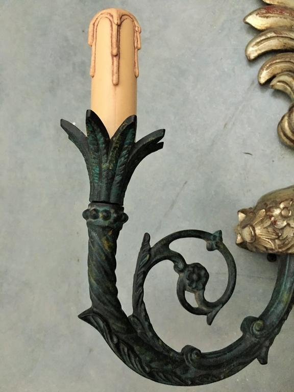 Pair of French Neoclassical Two-Light Gilt Metal and Wood Sconces 5