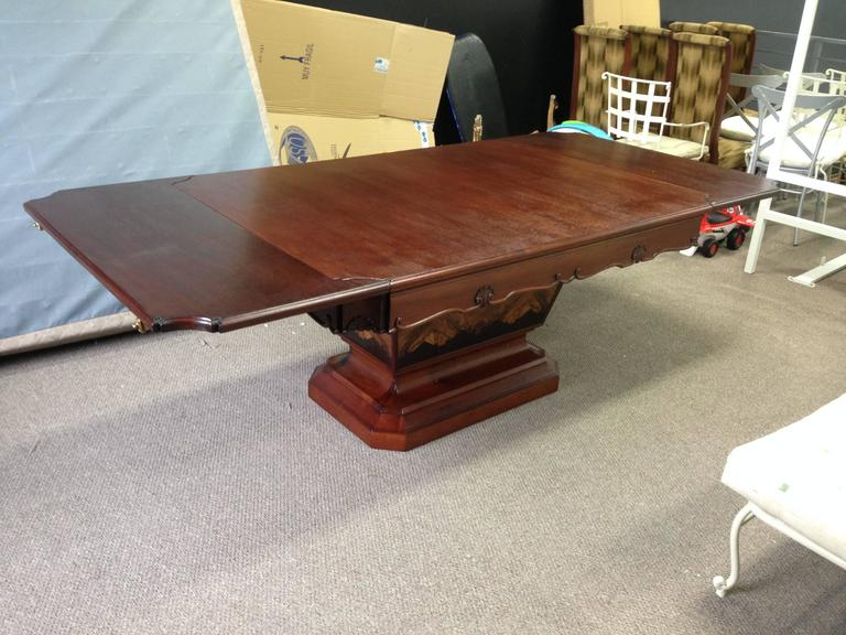 exceptional big rectangular art deco dining table with a burl walnut feet for sale at 1stdibs. Black Bedroom Furniture Sets. Home Design Ideas
