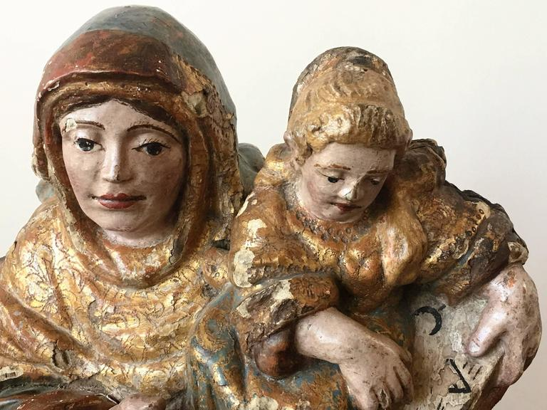 Wood 16th Century Spanish Carved & Polychrome Painted Saint Anne with the Infant Mary For Sale