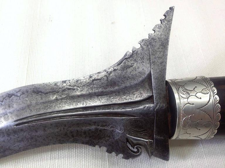 19th Century Steel and Sterling Silver Malaysian Dagger In Excellent Condition For Sale In Miami, FL