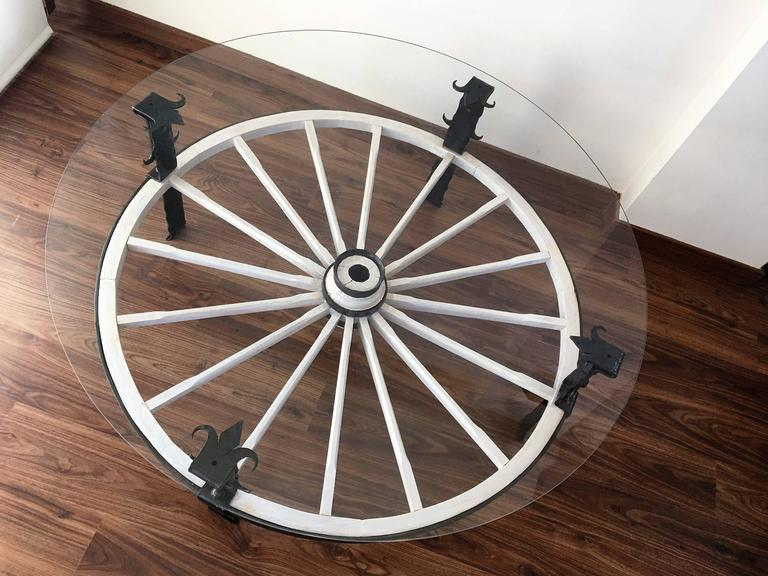 20th Century Glass Top Wooden Wagon White Wheel Accent Spanish Table For Sale 2