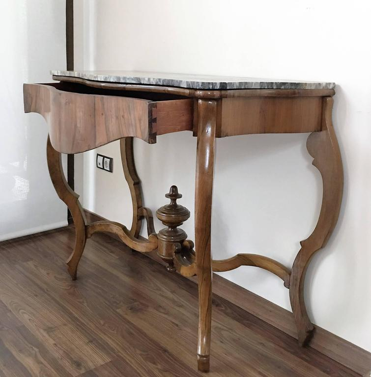 19th Century Marble Top Walnut Console Table With Drawer
