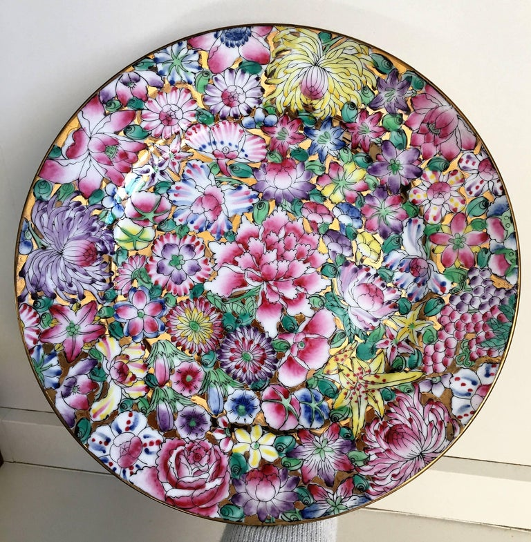 Chinese export platter.  Mille fleur pattern.