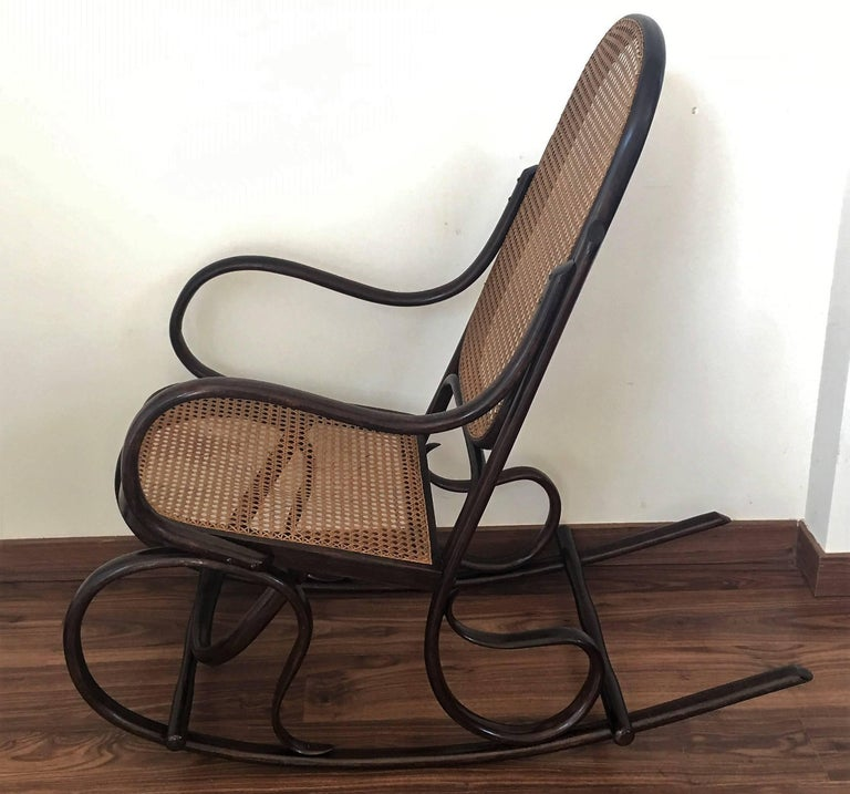 Pair Of Bentwood Rocking Chairs With Cane Seat And Back In Excellent Condition For