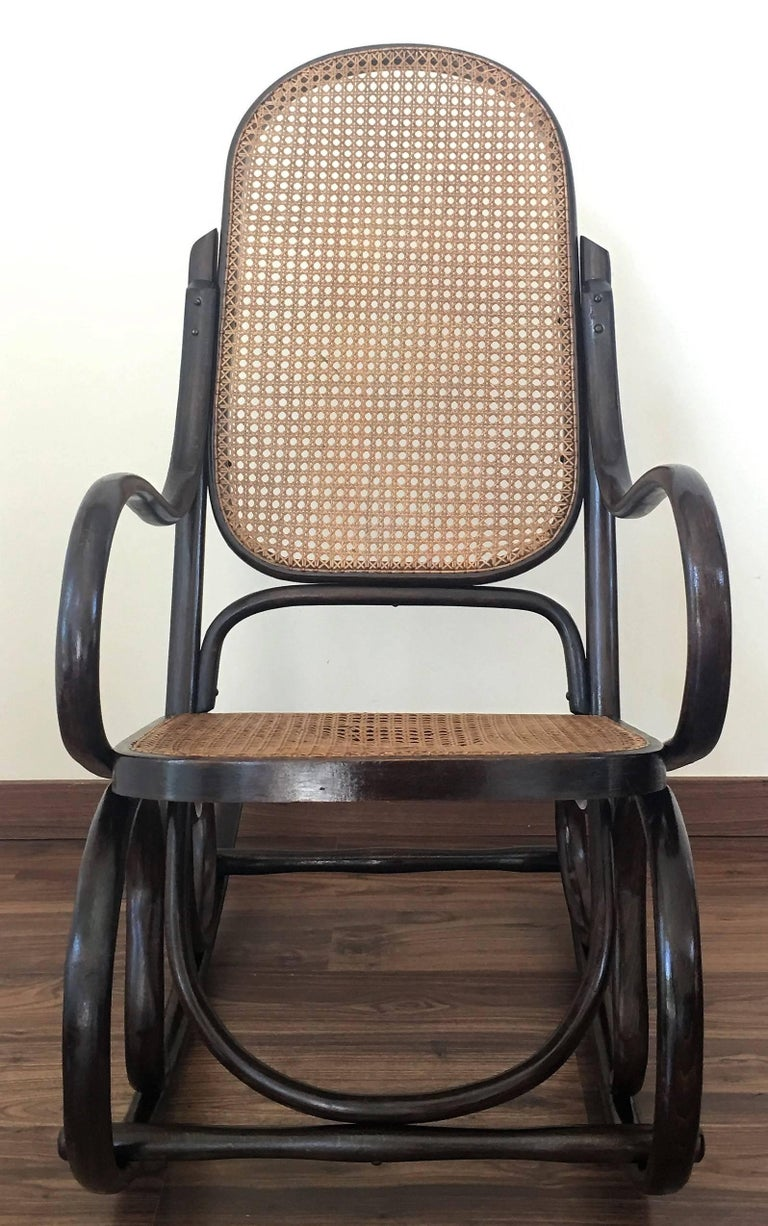 Pair Of Bentwood Rocking Chairs With Cane Seat And Back