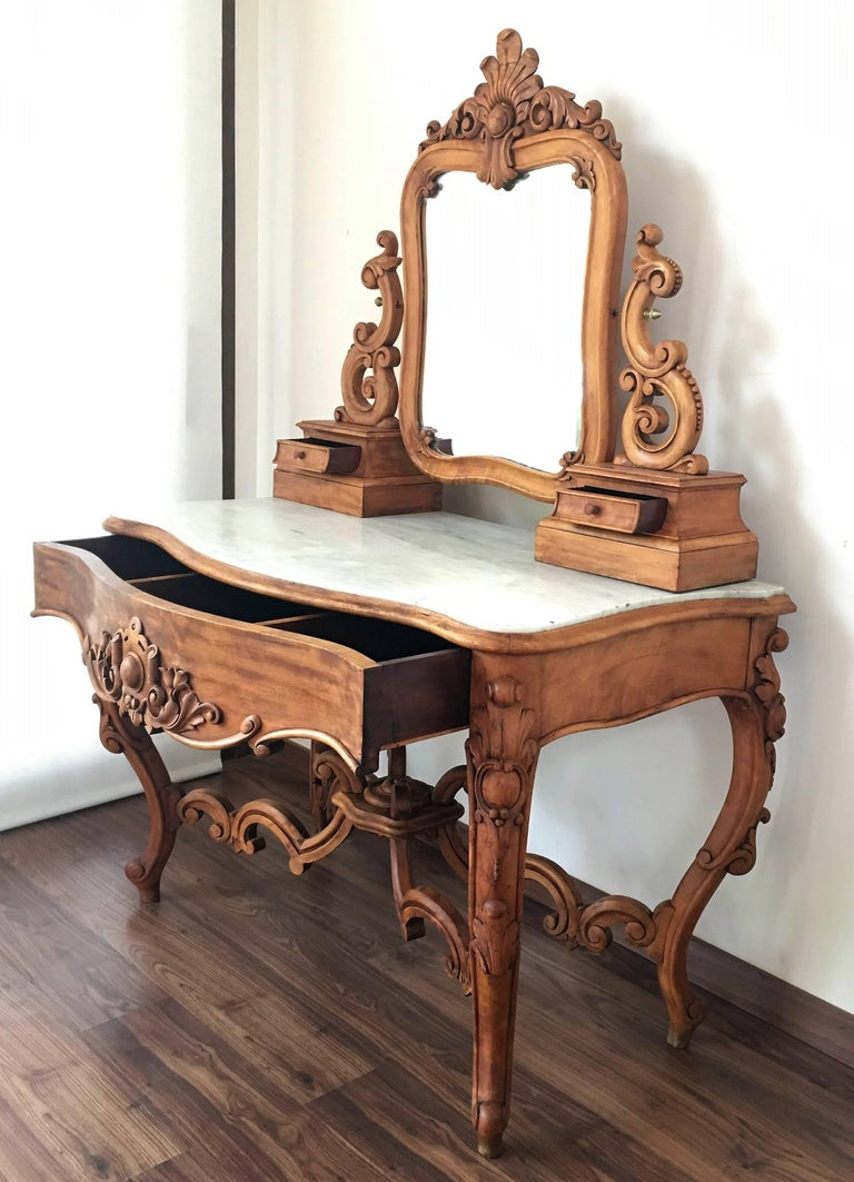 Carved victorian mahogany vanity or dressing table with for Vanity table and mirror for sale