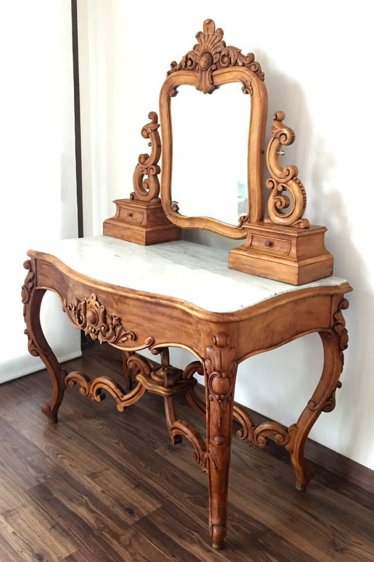 Carved Victorian Mahogany Vanity Or Dressing Table With