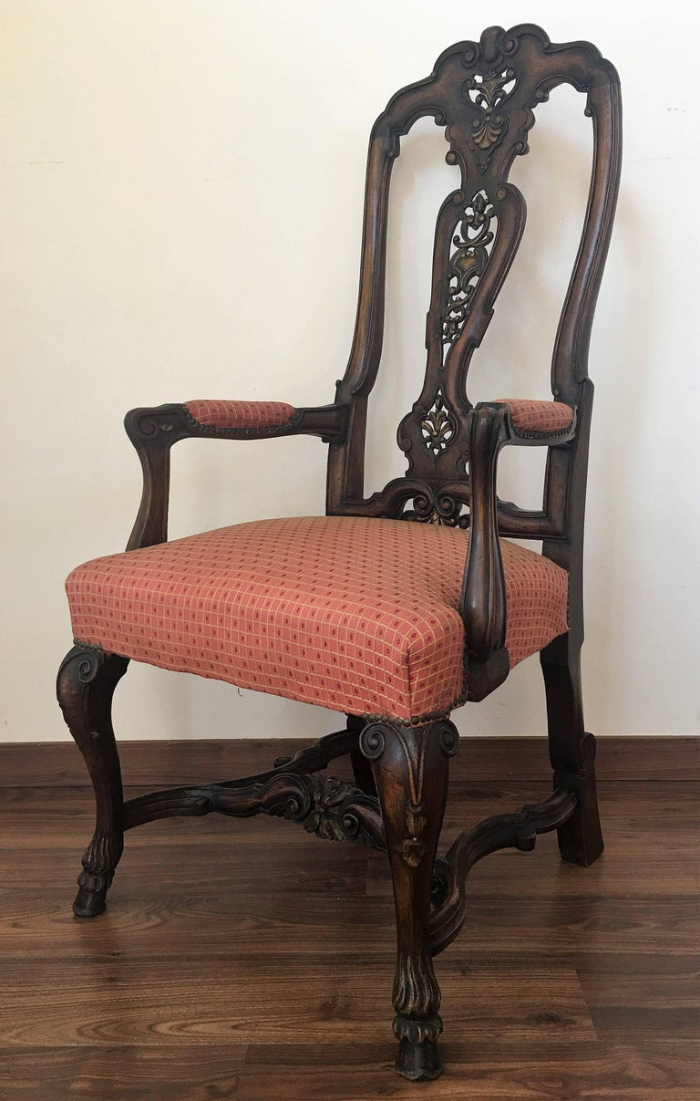 1940s Burl Walnut Queen Anne Style Pair of Armchairs For Sale 1