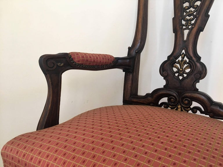 1940s Burl Walnut Queen Anne Style Pair of Armchairs For Sale 3
