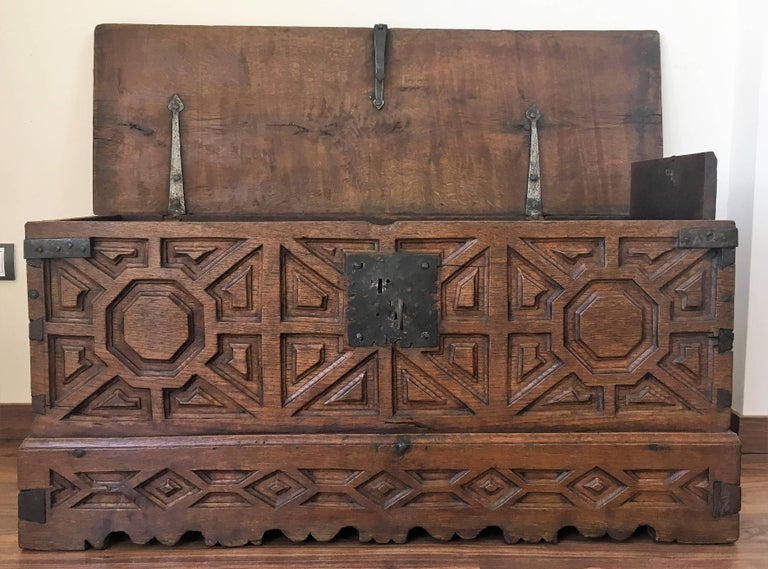Baroque Spanish 18th Century Wood Coffer or Trunk For Sale