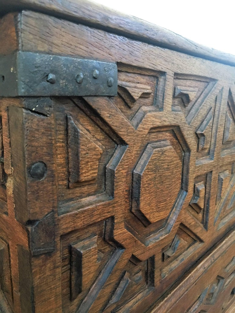 Spanish 18th Century Wood Coffer or Trunk For Sale 1
