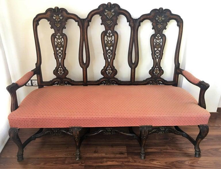 1940s Burl Walnut Queen Anne Style Sofa